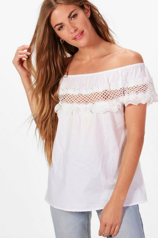 Ava Woven Off The Shoulder Crochet Trim Top