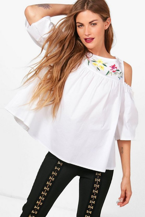 Grace Embroidered Cold Shoulder Woven Top