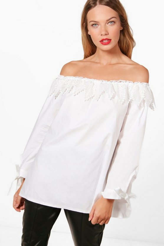 Emma Crochet Woven Off The Shoulder Top