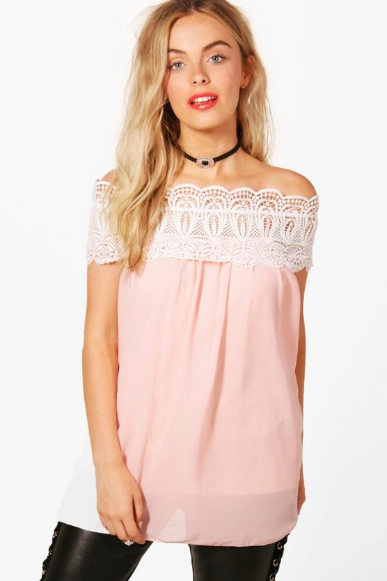 Erin Crochet Trim Off The Shoulder Top