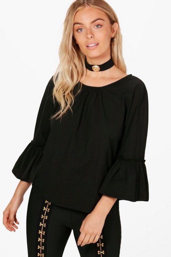 Alyssa Tie Back Ruffle Sleeve Blouse