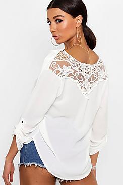 Gehäkeltem Rücken Bluse aus Webmaterial - Boohoo.com