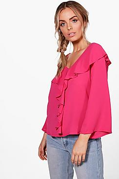 Holly Bluse aus Webmaterial mit Volant - Boohoo.com