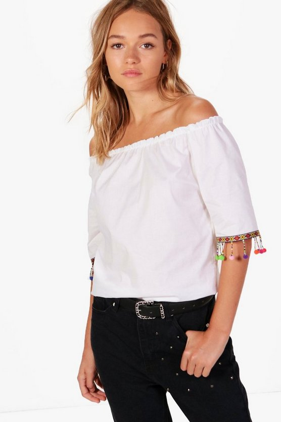 Ava Pom Pom Trim Woven Off The Shoulder Top