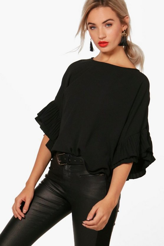 Molly Pleated Sleeve Woven Top