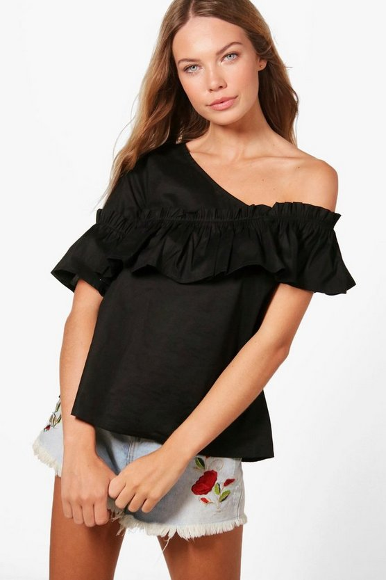 Jess Woven Frill One Shoulder Top