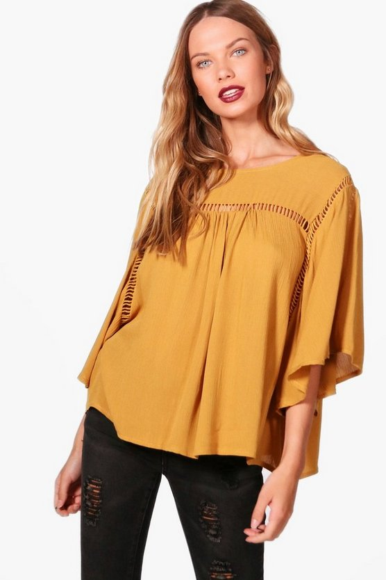 Ladder Trim Wide Sleeve Top