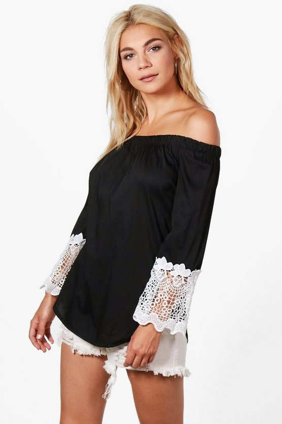 Aimee Crochet Trim Off The Shoulder Top