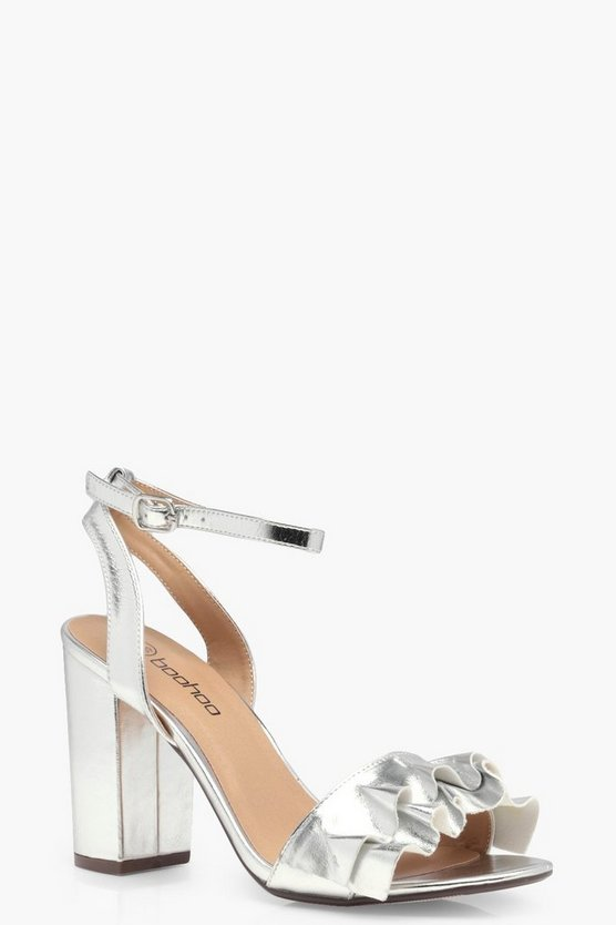 Lucy Wide Fit Frill Detail Block Heels