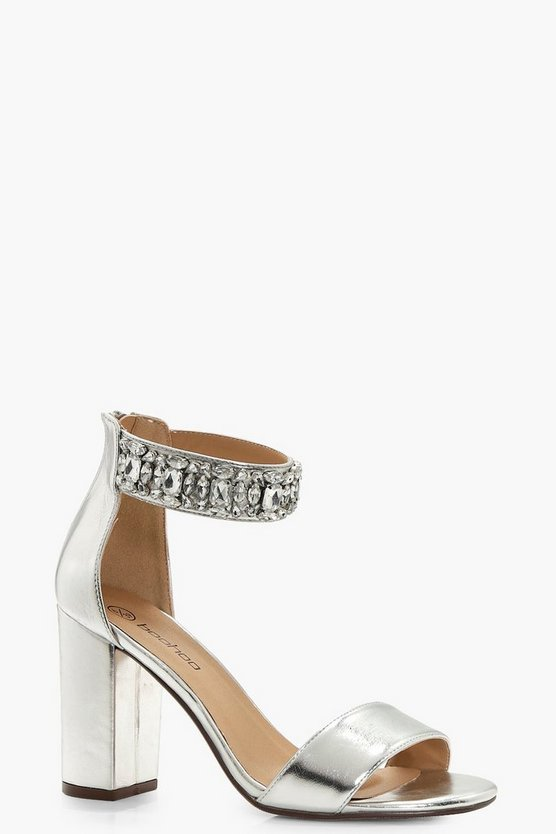 Macy Wide Fit Embellished Ankle Band Heels