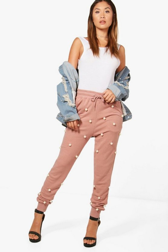 Anna Pearl Embellished Luxe Sweat Joggers
