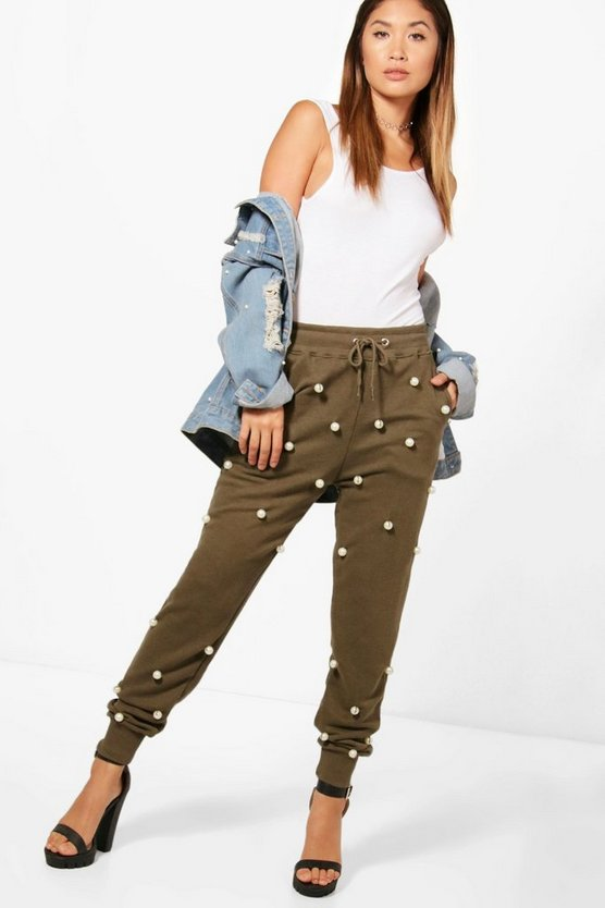 Pearl Embellished Luxe Sweat Joggers