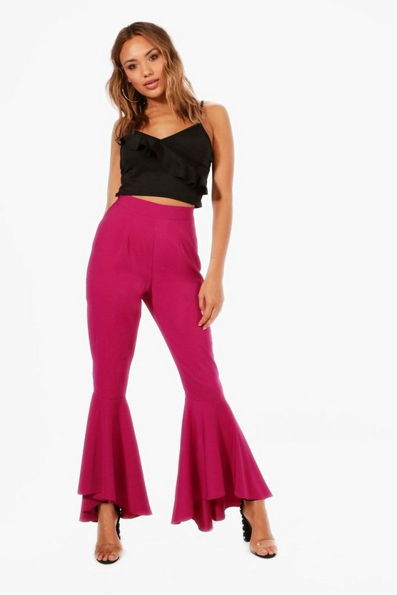 Katie Dipped Ruffle Hem Luxe Woven Trousers