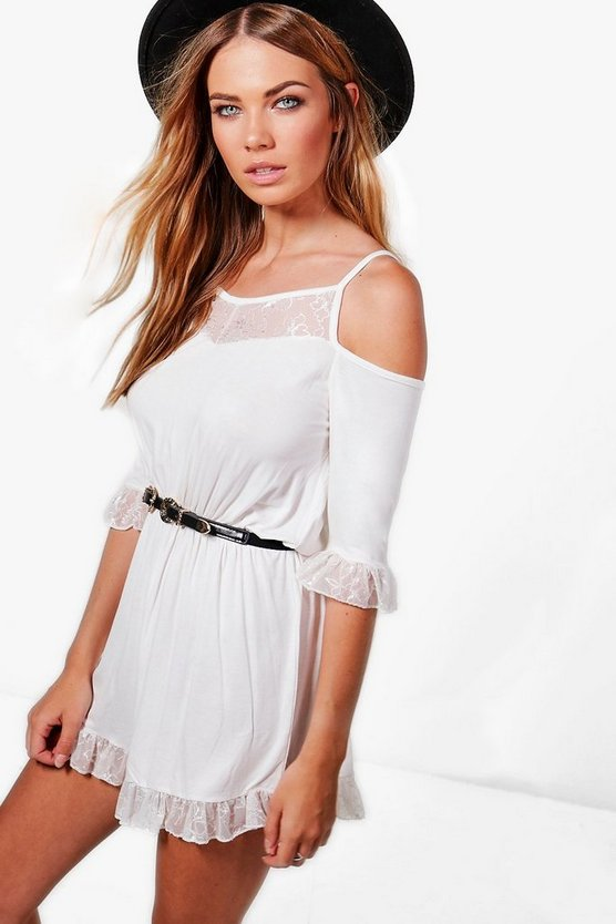 Julie Lace Trim Cold Shoulder Playsuit