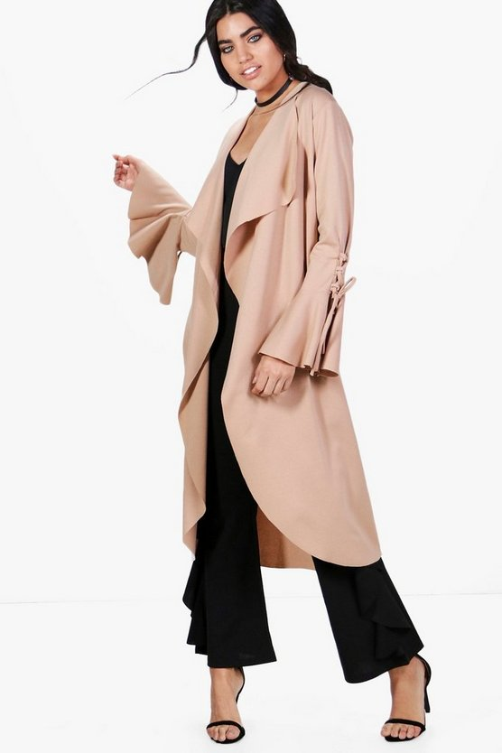 Jessica Flute Sleeve Lace Up Duster