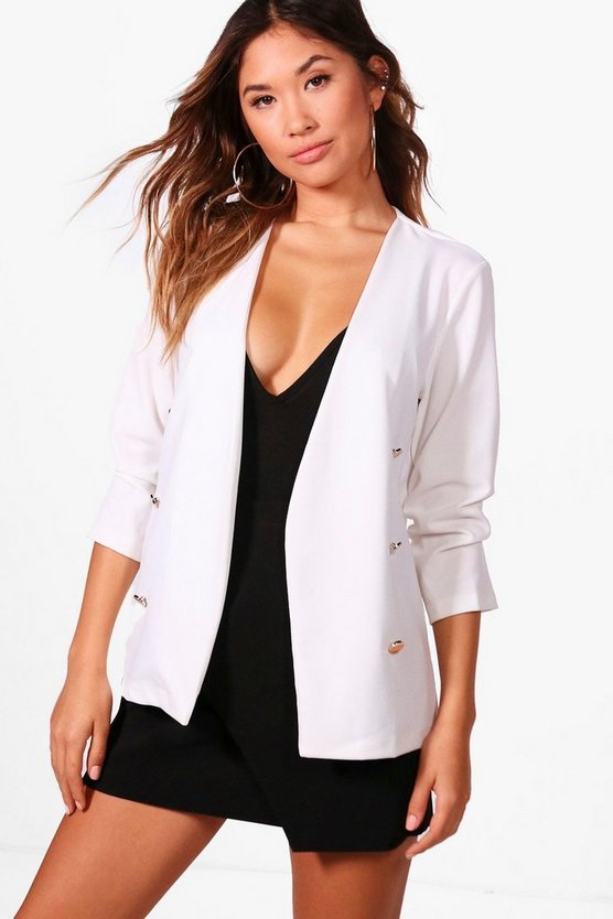 Emily Ruched Sleeve Button Front Collarless Jacket