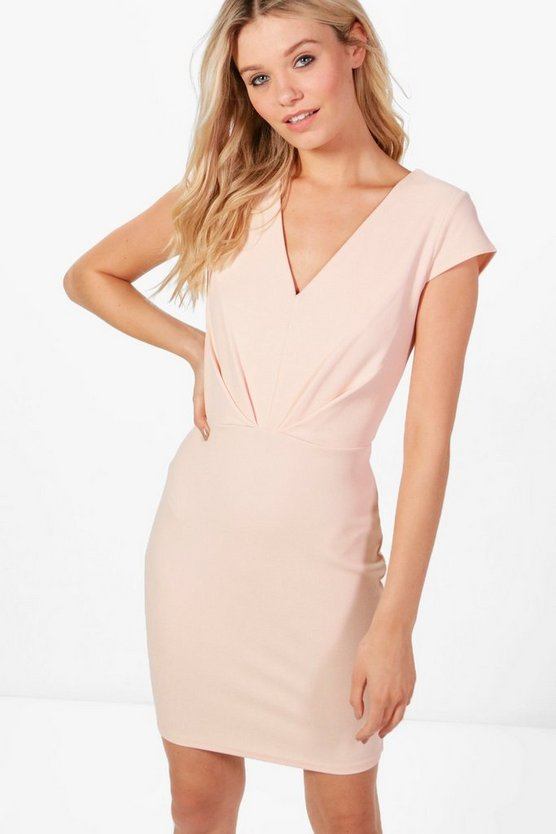 Phoebe V-Neck Short Sleeve Fitted Dress