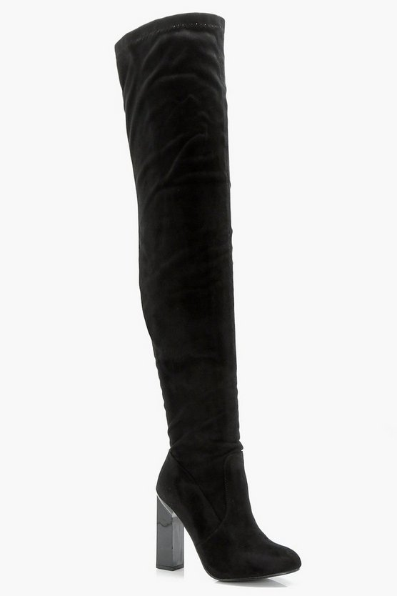Bethany Block Gloss Heel Thigh High Boot