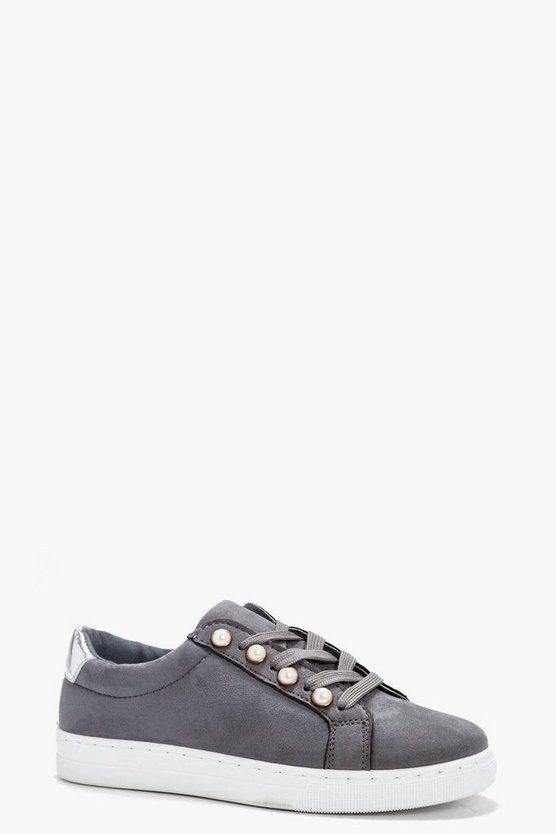 Florence Pearl Trim Lace Up Trainer