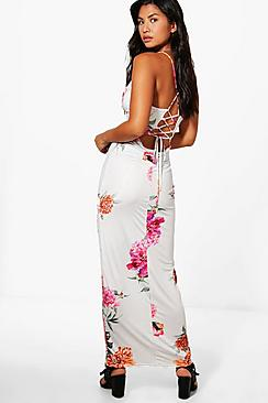 boohoo female kira floral print strappy back maxi dress