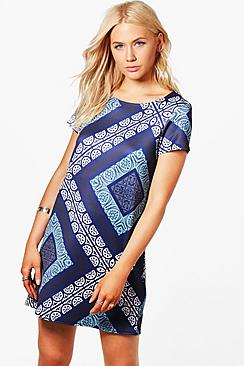 boohoo female adele geo print shift dress