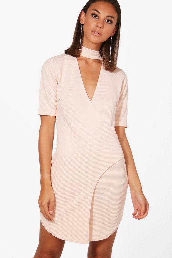 Choker Ribbed Wrap Bodycon Dress