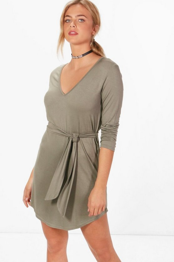 Freya V Neck Tie Belt Shift Dress