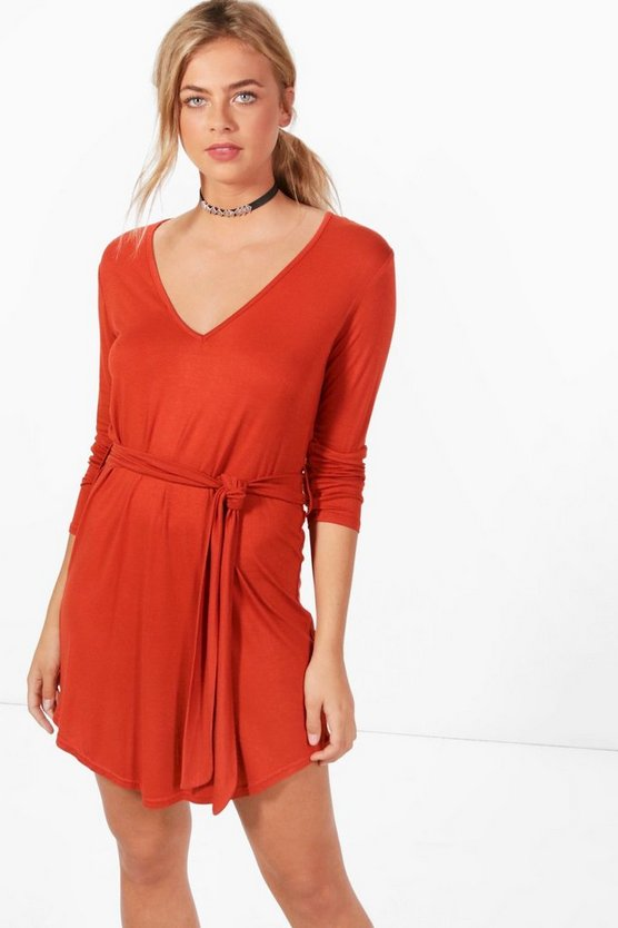V Neck Tie Belt Shift Dress