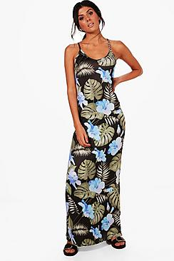boohoo female anna tropical strappy low back maxi dress