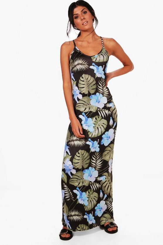 Anna Tropical Strappy Low Back Maxi Dress
