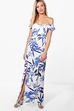 boohoo female erin printed bardot maxi dress