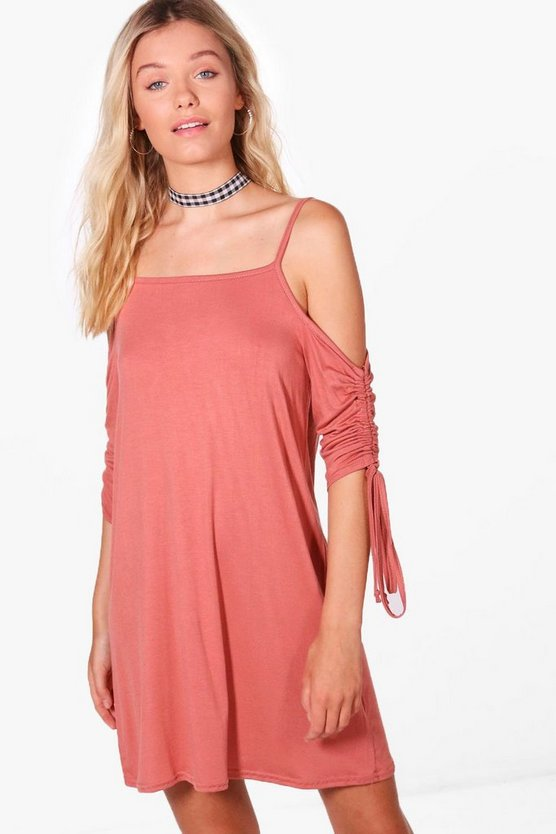 Ciara Rouched Sleeve Cold Shoulder Shift Dress