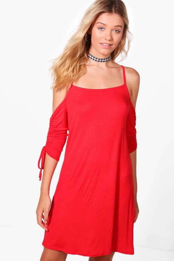 Ciara Ruched Sleeve Cold Shoulder Shift Dress
