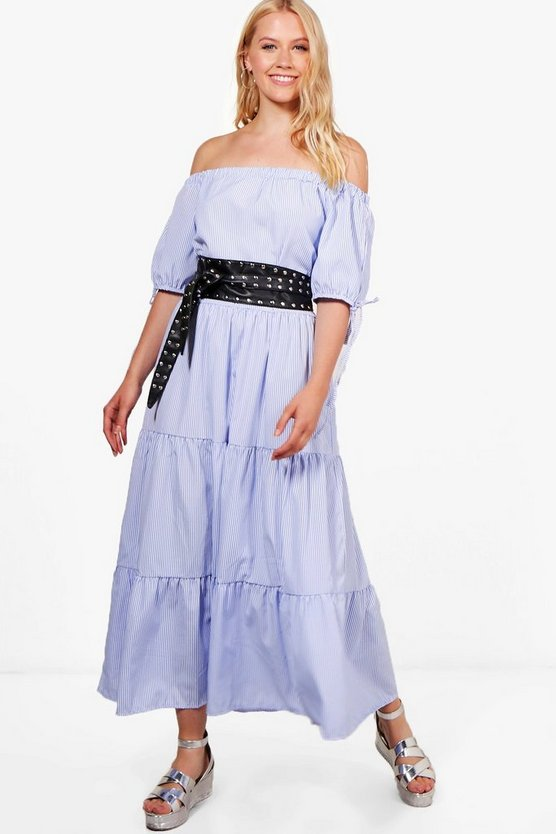 Indi Woven Tiered Stripe Maxi Dress