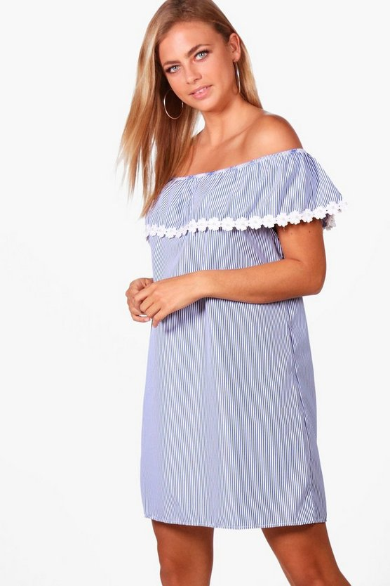 Arisha Woven Stripe Off The Shoulder Dress