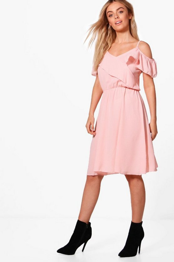 Lois Cross Frill Strappy Midi Skater Dress