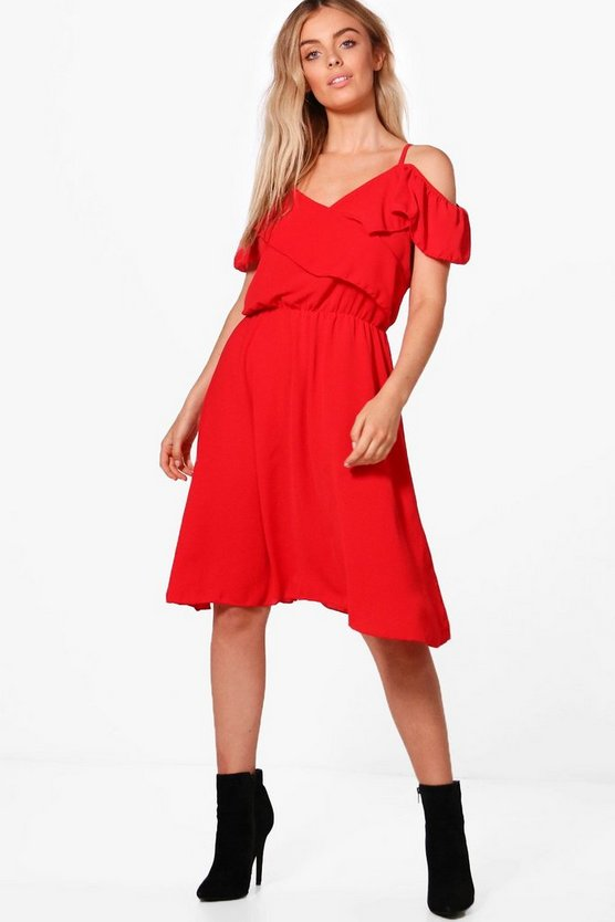 Cross Frill Strappy Midi Skater Dress