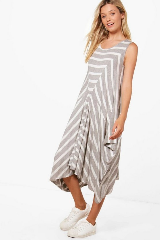 Beth Oversized Stripe Jersey Midi Dress