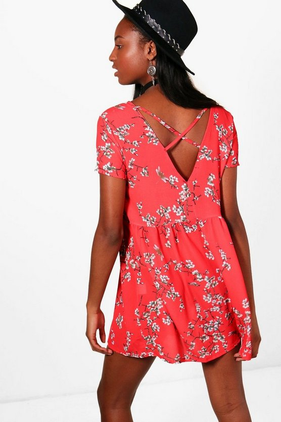 Rosie Cross Back Short Sleeve Smock Dress