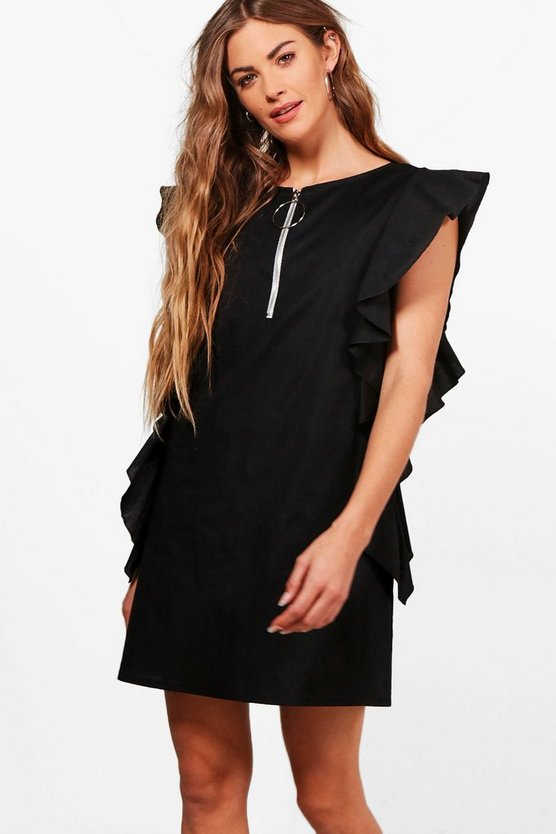 Sophie O Ring Ruffle Shift Dress