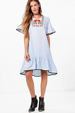 boohoo female alana embroidered drop hem ruffle shift dress
