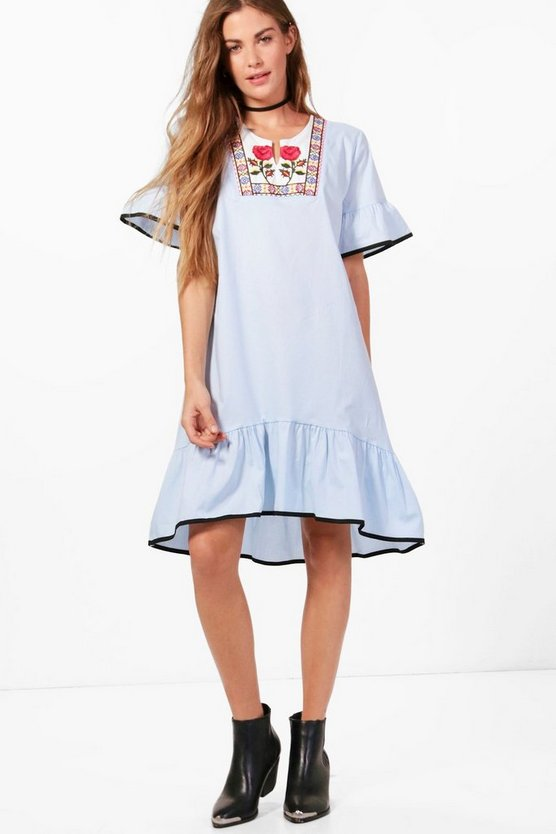 Alana Embroidered Drop Hem Ruffle Shift Dress