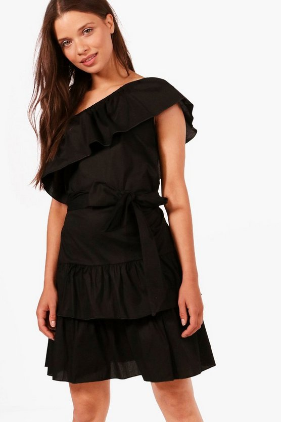 Millie One Shoulder Frill Hem Shift Dress