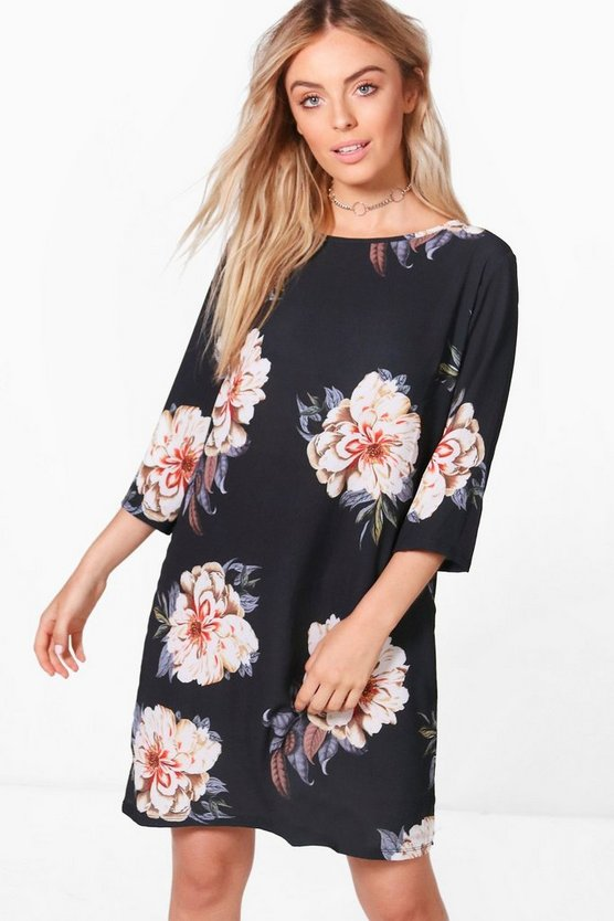Terri Flute Sleeve Floral Shift Dress