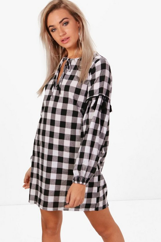 Dani Large Check Smock Dress