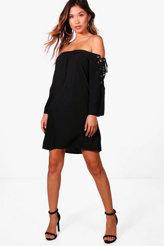 Han Eyelet Sleeve Off Shoulder Shift Dress