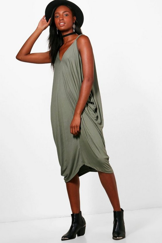 Michaela Twist Strap Oversized Jersey Midi Dress