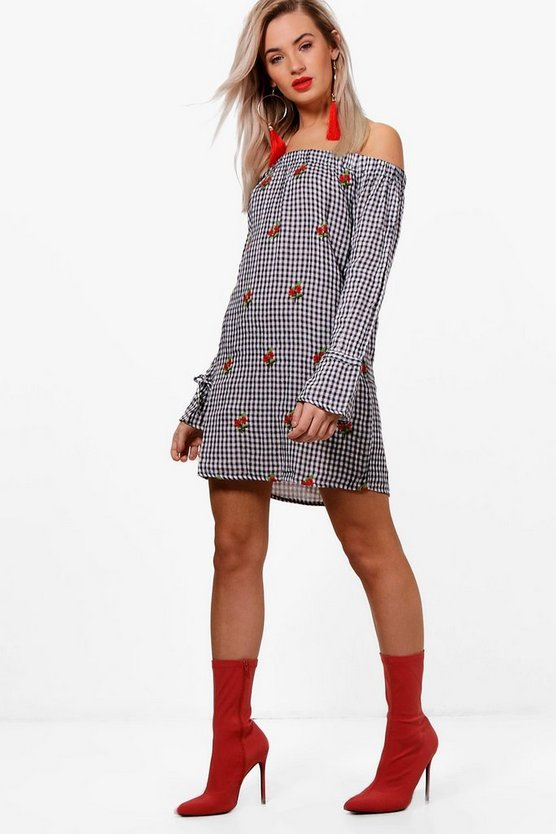 Gingham Embroidered Shift Dress