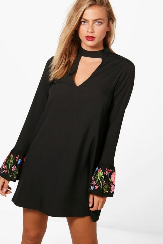 Boutique Choker Embroidered Shift Dress