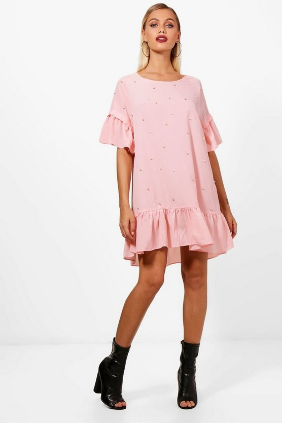 Tasha Pearl Embellished Smock Dress